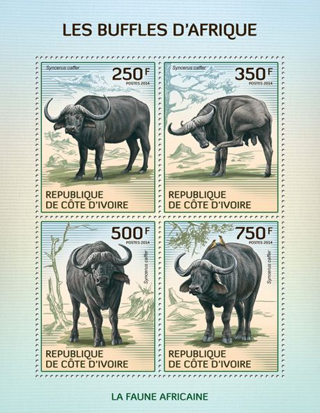 Buffalos - Issue of Ivory Coast postage stamps