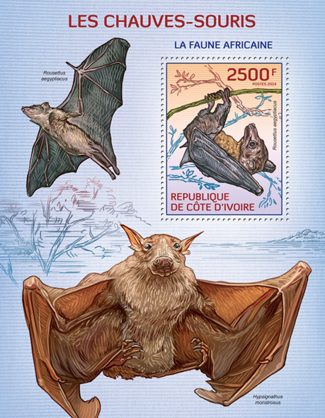 Bats - Issue of Ivory Coast postage stamps