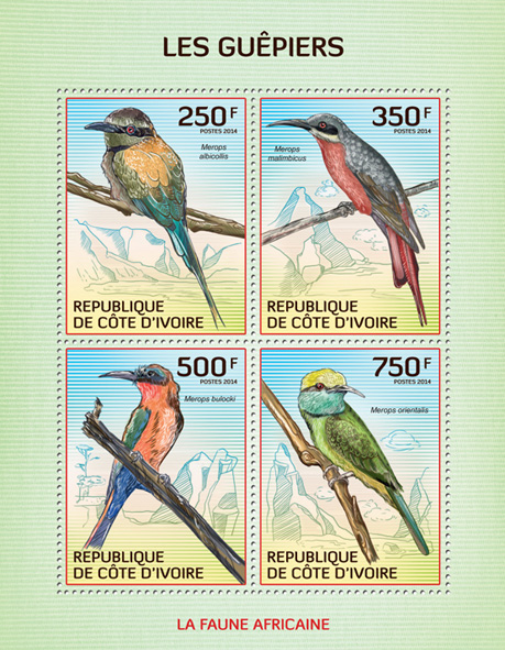 Bee-eaters - Issue of Ivory Coast postage stamps