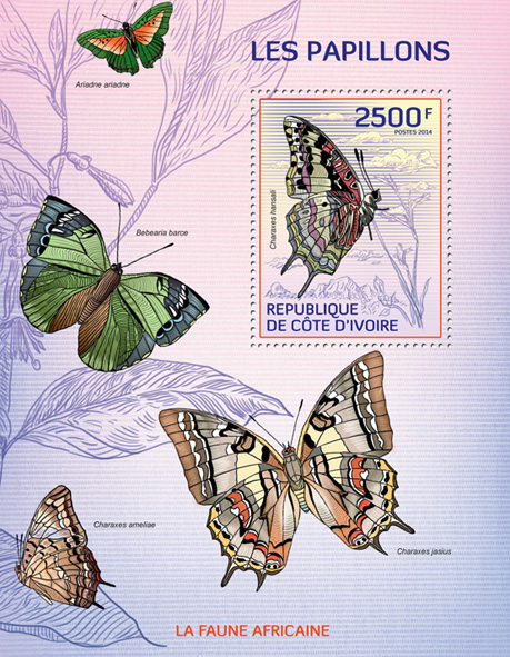 Butterflies - Issue of Ivory Coast postage stamps