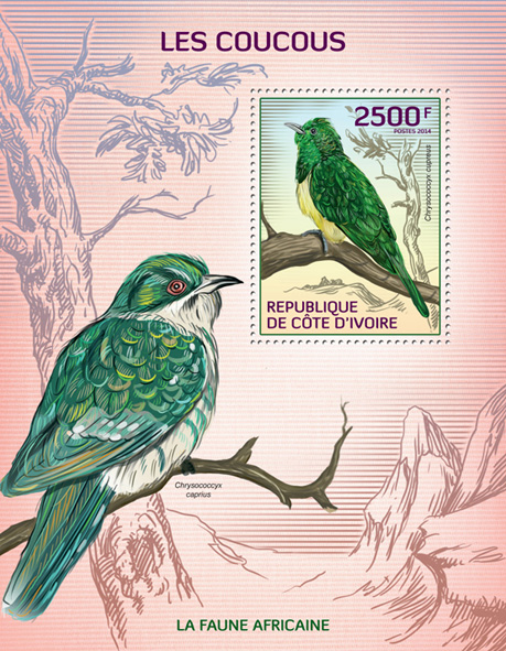 Cuckoos - Issue of Ivory Coast postage stamps