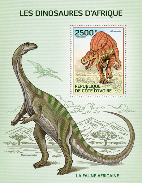 Dinosaurs - Issue of Ivory Coast postage stamps