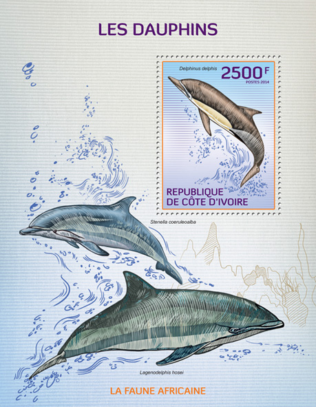 Dolphins - Issue of Ivory Coast postage stamps