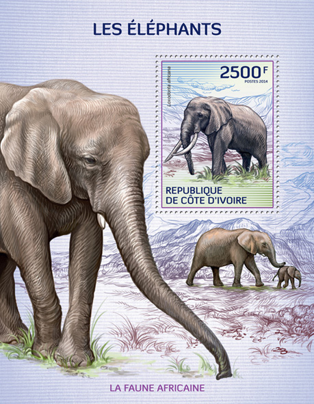 Elephants - Issue of Ivory Coast postage stamps