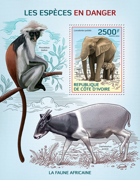 Endangered species - Issue of Ivory Coast postage stamps