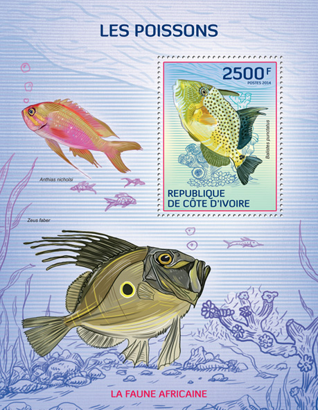 Fishes - Issue of Ivory Coast postage stamps