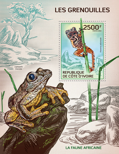 Frogs - Issue of Ivory Coast postage stamps