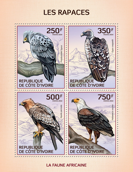 Raptors - Issue of Ivory Coast postage stamps