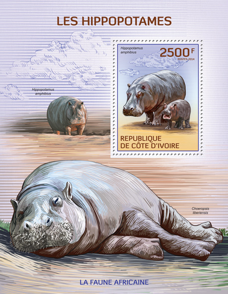 Hippopotamus - Issue of Ivory Coast postage stamps