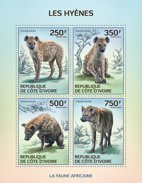 Hyenas - Issue of Ivory Coast postage stamps