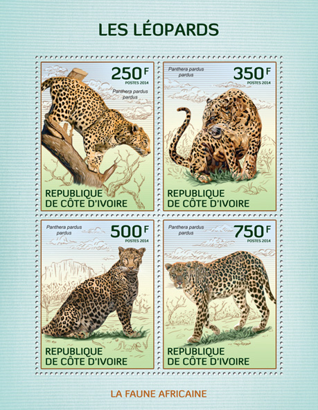 Leopards - Issue of Ivory Coast postage stamps