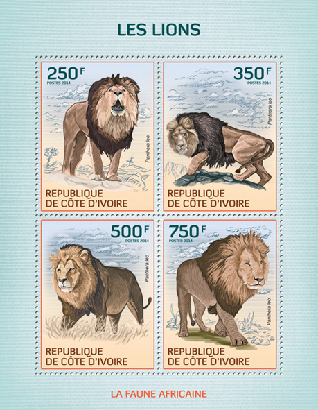 Lions - Issue of Ivory Coast postage stamps
