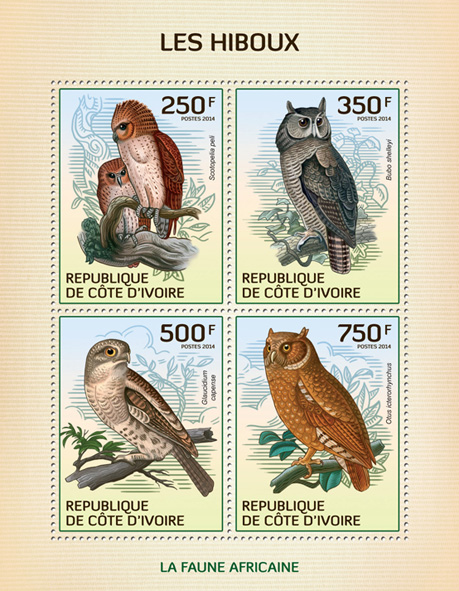 Owls - Issue of Ivory Coast postage stamps