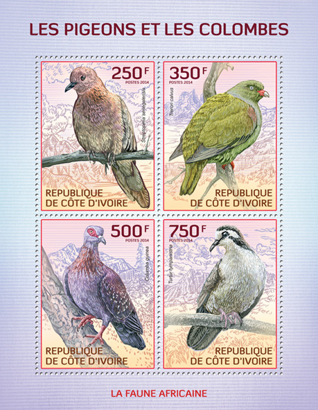 Pigeons and doves  - Issue of Ivory Coast postage stamps