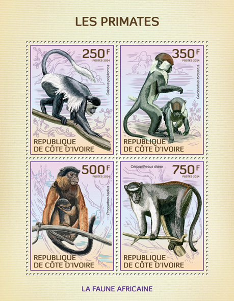 Primates - Issue of Ivory Coast postage stamps