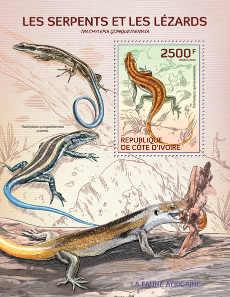 Snakes and lizards - Issue of Ivory Coast postage stamps