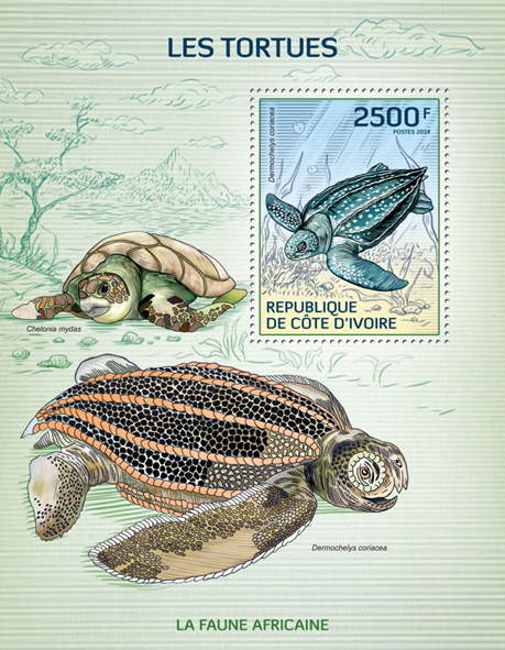 Turtles - Issue of Ivory Coast postage stamps