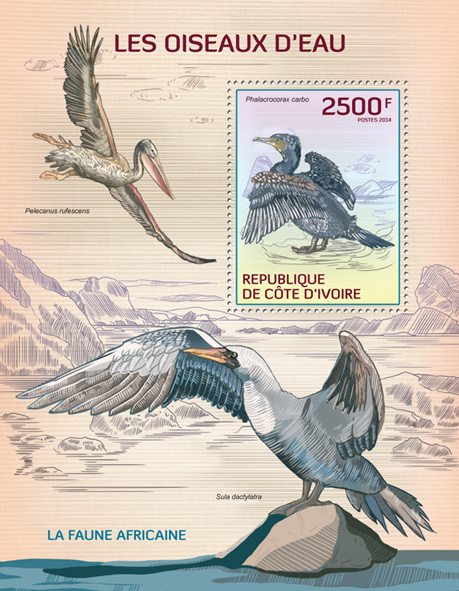 Water birds - Issue of Ivory Coast postage stamps