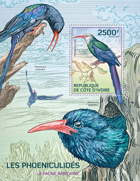 Birds - Issue of Ivory Coast postage stamps